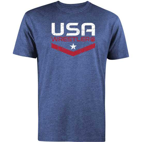 WrestlingMart USA Wrestler Tee-Navy Heather