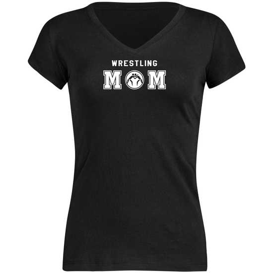 WM Wrestling MOM VNeck Tee-Black-White