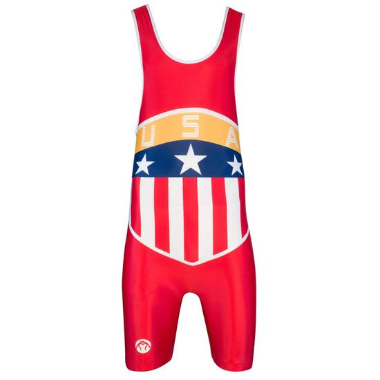 Wrestlingmart USA Crest Singlet Red