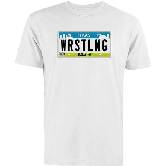 WrestlingMart Iowa License Plate Tee-White