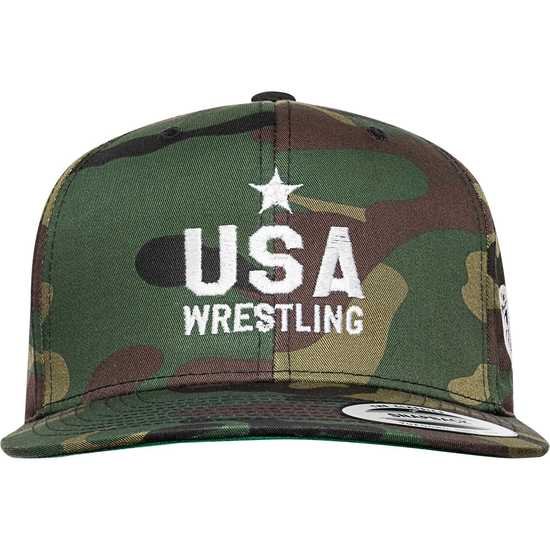 b1be9221197a6 Star USA Wrestling Camo Snapback-Green Brown Camo