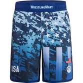 WrestlingMart Signature Fight Short Limited  navy blue camo front